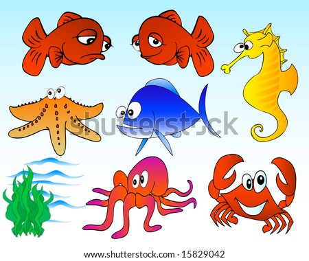 vector illustration of cartoon sea creatures