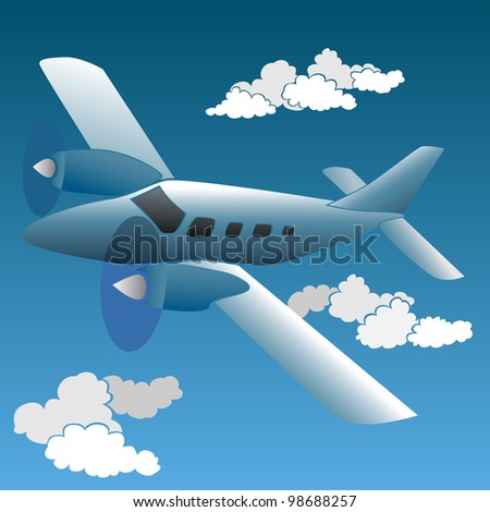 Vector illustration of cartoon small private plane.