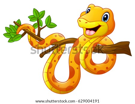 Vector illustration of Cartoon snake on branch