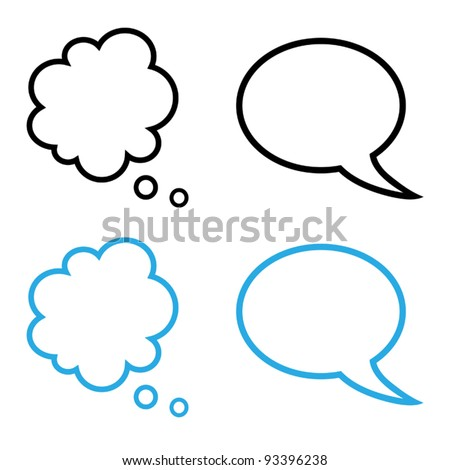 Vector illustration of cartoon speech and thought bubbles collection, black and blue version