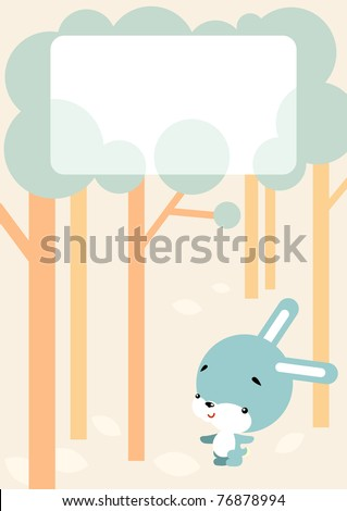 Vector illustration of cartoon-style - little bunny walks in the woods and blank sign for your message
