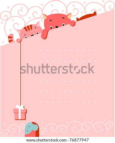 Vector illustration of cartoon-style - three kittens with a gift for the mouse and blank sign for your message