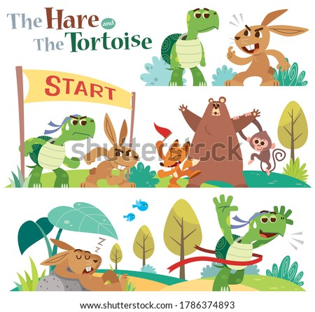 Vector Illustration of Cartoon the hare and the tortoise character set.  Turtle and rabbit racing. Fairy fable tale characters. Stock photo ©