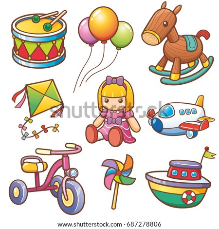 Vector illustration of Cartoon toys set stock photo