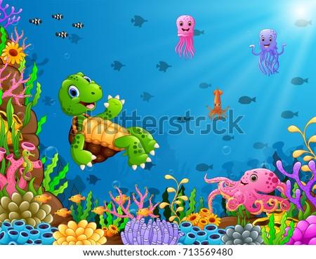Vector illustration of Cartoon turtle and octopus underwater #713569480