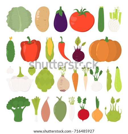 Vector illustration of cartoon vegetable collection. Set isolated on white background. Hand drawn cute vegetables. #716485927