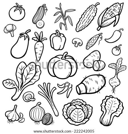 Vector Illustration of Cartoon vegetable set - Coloring book #222242005