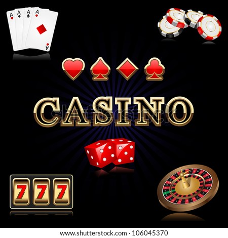 vector illustration of casino related object against black background