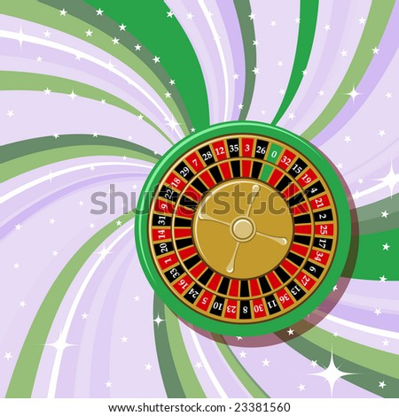 Vector illustration of casino roulette on the beautifull shiny background. - stock vector