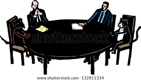 Vector illustration of cat and dog in arbitration meeting - stock vector