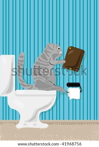 Vector illustration of cat reading book over toilet