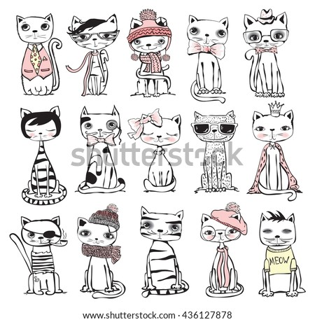 vector illustration of cat set