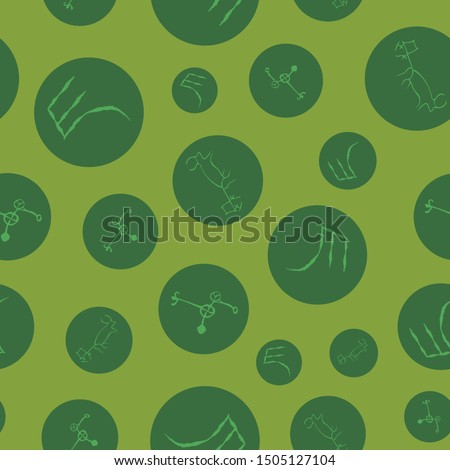 Vector illustration of cave drawings, ancient scripts and circles. in shades of green, lime, chartreuse. Isolated from background. Seamless pattern for gifts, posters, flyers, wallpaper, textile.