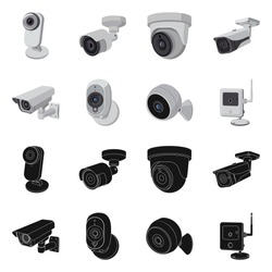 Vector illustration of cctv and camera symbol. Set of cctv and system vector icon for stock.