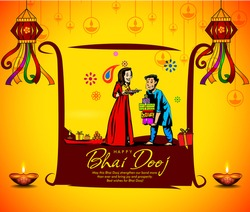vector illustration of celebrating Bhai Dooj with Indian family during Happy Diwali festival background