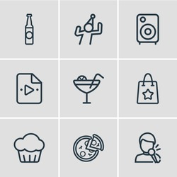 Vector illustration of 9 celebration icons line style. Editable set of pizza, beer bottle, loudspeaker and other icon elements.