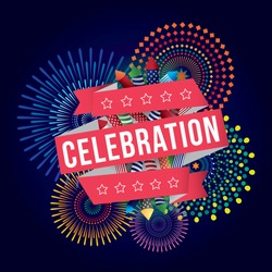 Vector illustration of celebration with fireworks background.