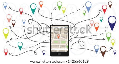 vector illustration of cell phone and navigation symbols for mobile apps and maps routes and directions