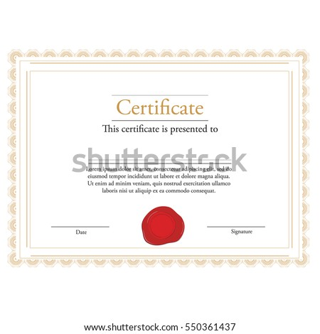 Vector illustration of certificate template with red wax stamp and golden frame. Certificate border. Modern certificate #550361437