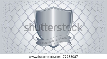 Vector illustration of chain fence with a metal shield on it