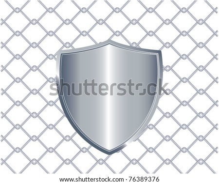 Vector illustration of chain fence with a metal shield on it, eps10