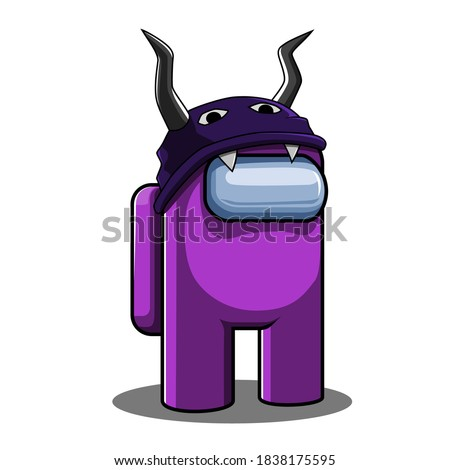 Vector Illustration of character from the popular game Among Us in Halloween version.