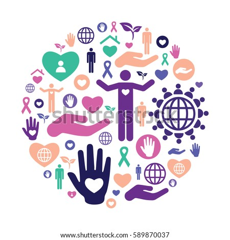 vector illustration of charity icons for help and care in circle shape  Photo stock ©