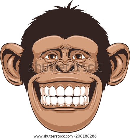 Vector illustration of cheerful monkeys