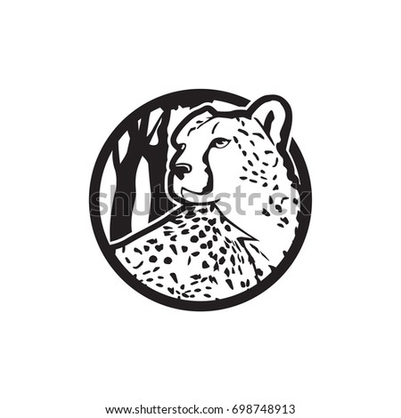 Vector illustration of cheetah for logo, icon and badge