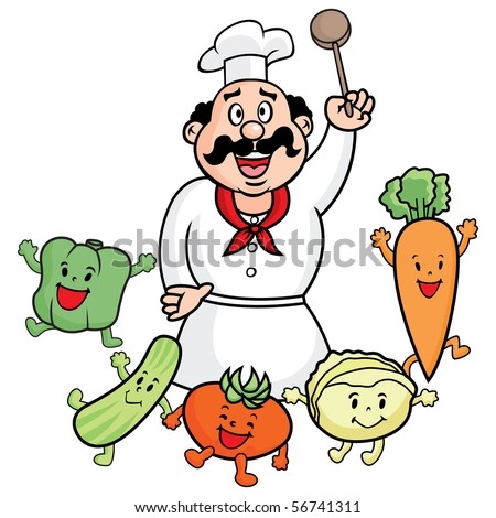 Vector illustration of Chef Cook with vegetables.