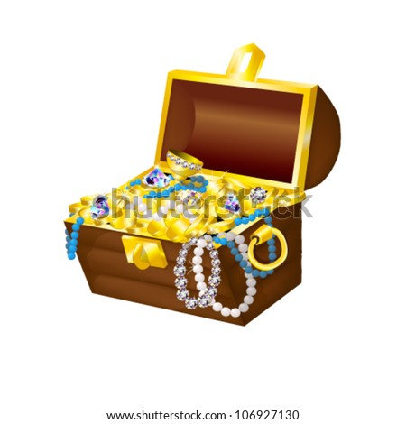 vector illustration of chest with treasure