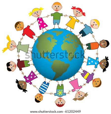 vector illustration of children around the world