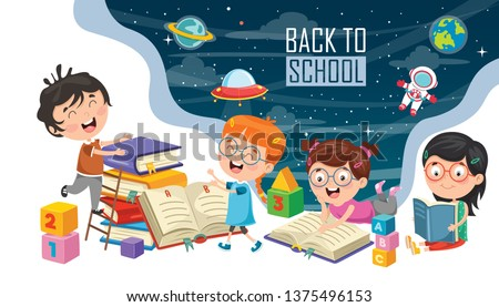 Vector Illustration Of Children Back To School