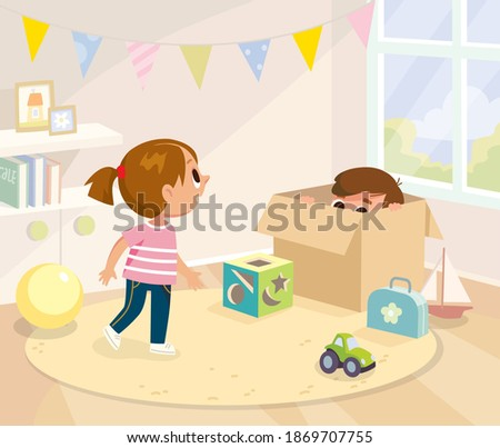 Vector illustration of children, boy and girl playing hide and seek game in play room. Children's active games. Boy hides from his sister in a box. Girl is searching looking for her brother. Stock photo ©