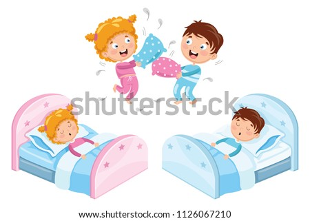 Vector Illustration Of Children In Pajamas