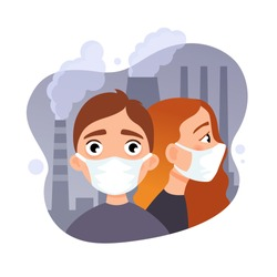 Vector illustration of children in protective masks. Air pollution concept.