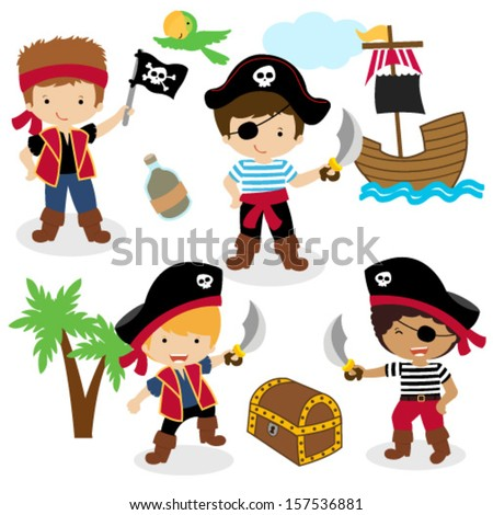 Vector Illustration of Children Pirates