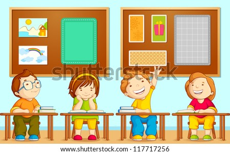 vector illustration of children sitting on table in school
