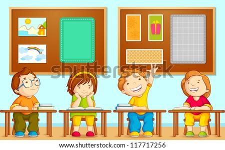 vector illustration of children sitting on table in school