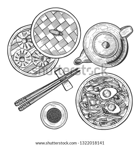 Vector illustration of chinese cuisine set. Menu with ramen noodles, dim sum and dumplings basket, soy sauce in cup, chinese tea pot, chopsticks. Vintage hand drawn style.