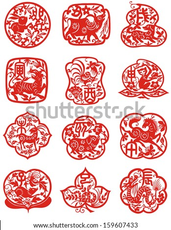 Vector illustration of 12 Chinese zodiac signs