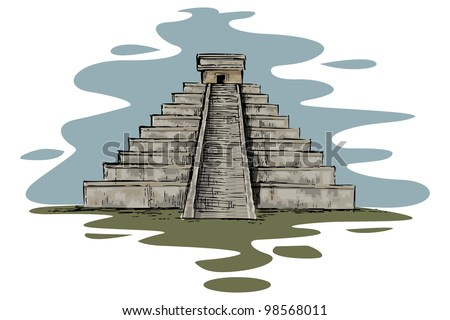 vector illustration of Chinhen Itza monument
