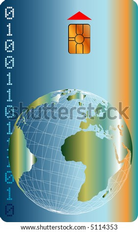 vector illustration of chip card with globe