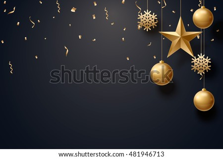 vector illustration of christmas 2017 background with christmas ball star snowflake confetti gold and black colors lace for text 2018 2019 #481946713
