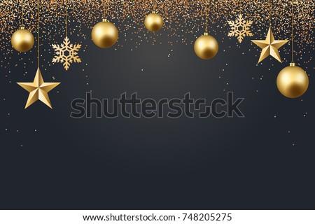 vector illustration of christmas 2017 background with christmas ball star snowflake confetti gold and black color #748205275