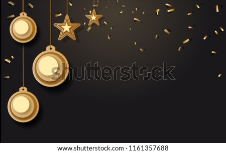 vector illustration of christmas background with christmas ball star snowflake confetti gold and black colors lace for text 2019. Vector illustration. #1161357688