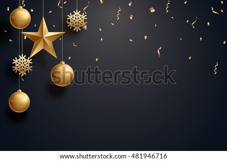vector illustration of christmas background with christmas ball star snowflake confetti gold and black colors lace for text 2018 2019 #481946716