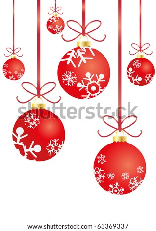 Vector illustration of Christmas balls with red ribbons hanging