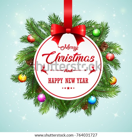 Vector illustration of Christmas card background with fir branches and pine cones #764031727