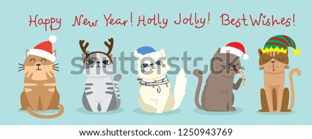 Vector illustration of christmas cats and Christmas and new year greetings. Cute cats with  holiday hats